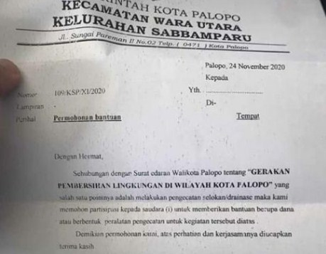 Surat  Kelurahan Sabbamparu Dikecam, Lurah Minta Maaf