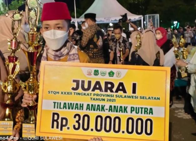 Kafilah Kabupaten Luwu, Passongko Cella'e Raih Juara Tilawah Tingkat Anak-anak Putera di STQH XXXII